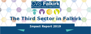 A promotional image for the 2019 Third Sector Impact Measurement Report, featuring the CVS Falkirk logo and branding.